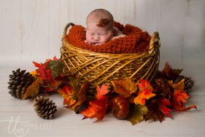 Baby in Autumn Leaves Newborn baby photography Dublin Meath Kildare Wicklow