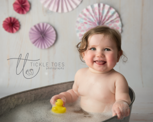 Cake Smash and Splash Session Ireland Vintage Bath Happy Baby