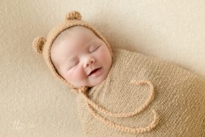 Smiling Teddy bear Newborn baby photography Dublin Meath Kildare Wicklow