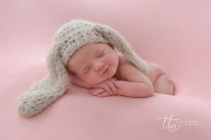 Bunny hat and a smile Newborn baby photography Dublin Meath Kildare Wicklow